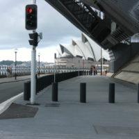 Retractable PAS68 bollards on sidewalk in Sydney